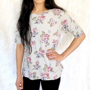 Ann Taylor LOFT floral heather grey t shirt blouse